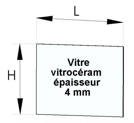 Vitre d'insert 605 x 390 mm