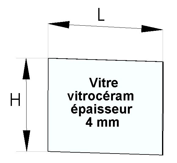 Vitre latérale d'insert 369 x 214 mm